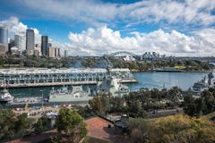 Morning Salut to Sydney, Australia. Woolloomooloo Bay, Sydney, Australia -September 03, 2018: Sydney Skyline and Woolloomooloo Bay view from above at the Royalty Free Stock Photos