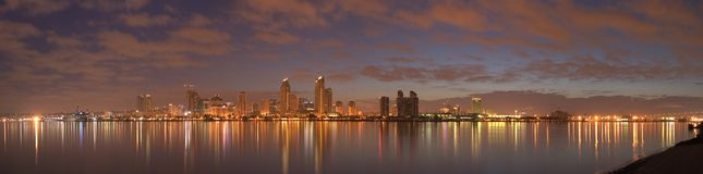 Morning in San Diego. A panorama of downtown San Diego in early dawn Stock Photography