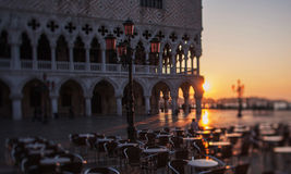 Morning in San Marco square in Venice  Royalty Free Stock Image