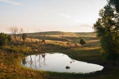 Morning in the Sandhills. The sun rises over a little pond in the Nebraska sandhills Royalty Free Stock Photo