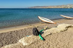 Morning at sandy beach of Eilat. Eilat is a famous resort city in Israel Stock Photos
