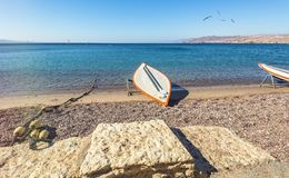 Morning at sandy beach of Eilat. Eilat is a famous resort city in Israel Royalty Free Stock Photos