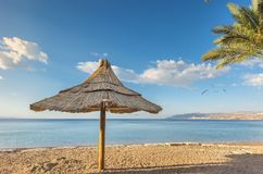 Morning on sandy beach in Eilat,  Israel Royalty Free Stock Photography