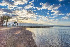 Morning on sandy beach in Eilat,  Israel Stock Photography