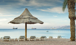 Morning at sandy beach of Eilat Stock Image