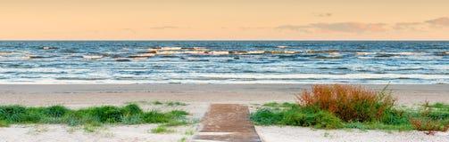 Morning at sandy beach of the gulf of Riga, Jurmala Stock Photos