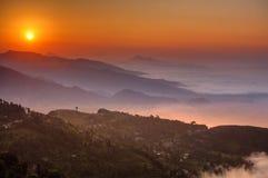 Morning at Sarangkot view point near Pokhara in Nepal.  stock photo