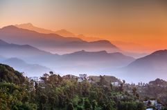 Morning at Sarangkot view point near Pokhara in Nepal Royalty Free Stock Photography