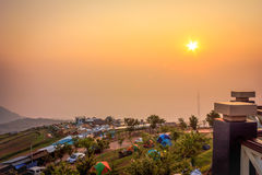 Morning scene hiitop. The sunrise and many tent on hilltop, Phu Tub Burg, Thailand Royalty Free Stock Photo