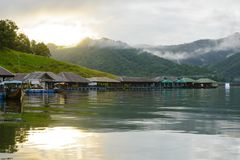 The morning scene at the MEA NGAD DAM. At Chiang Mai with the floating house Stock Images