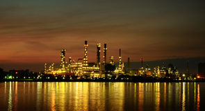 Morning  scene of Oil refinery Royalty Free Stock Image