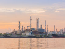Morning scene of the oil refinery plant. Royalty Free Stock Photos