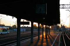 Morning scene at the railway station Stock Images