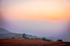 Morning scene. The sunrise over the mountain Royalty Free Stock Image