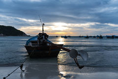 Morning scene of taxi boats at haad rin, koh phangan. Floating taxi boats waiting for working time in the morning at haad rin, koh phangan Royalty Free Stock Photography