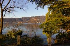 lago maggiore coast sunrise verbania stock photography