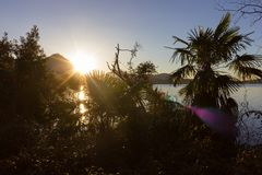 lago maggiore coast sunrise verbania royalty free stock images