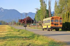 Free Morning School Bus On Quiet Country Road Royalty Free Stock Image - 152949936