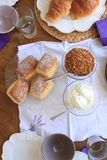Morning scones with cream and cereal Royalty Free Stock Images
