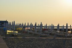 Morning sea tourist beach, Eraclea Mare. Italy royalty free stock photos
