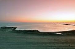 Morning sea. Sunrise over the Black Sea at Mamaia resort near Constanta city in Romania royalty free stock images