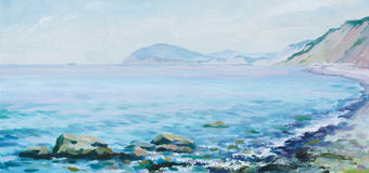 Morning sea. (oil hand painting Stock Photos