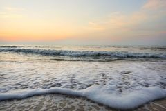 Morning on sea, Beautiful nature blue sky with clouds. Colorful sky as a background. Soft wave of the sea on the sandy beach at Cha-am beach, Thailand. Space Stock Photos