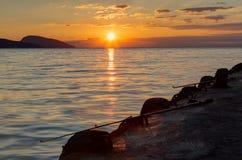 Morning sea fishing at sunrise Royalty Free Stock Photo