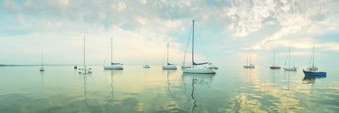 Morning sea - panoramic view Royalty Free Stock Photos