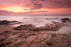 Morning Sea View with Rock at Samaesarn, Sattahib, Chonburi, Tha Royalty Free Stock Images