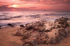 Morning Sea View with Rock at Samaesarn, Sattahib, Chonburi, Tha Stock Photos