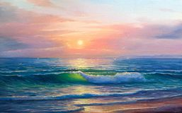 Sunrise over sea. Painting seascape. stock illustration