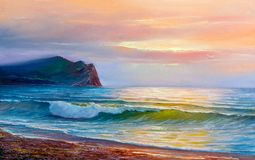 Oil painting of the sea on canvas. royalty free stock photos