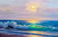 Oil painting of the sea on canvas. Morning on sea, wave, illustration, Oil painting paints on a canvas stock photo