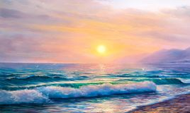 Sunrise over sea. Painting seascape. vector illustration