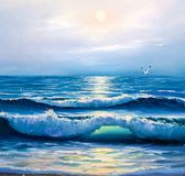 Sunrise over sea. Painting seascape. Morning on sea, wave, illustration, painting acrylic paints on a canvas stock photography