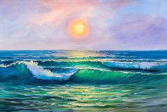 Painting seascape. Sea wave. vector illustration