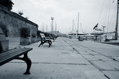 Morning on the seafront. Early morning on the seafront. Alghero. Sardinia Stock Photography