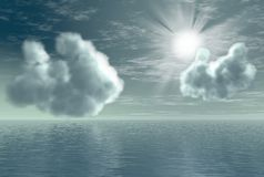 Morning seascape 2. Beautiful 3D rendered cloudy morning seascape with sunbeams Stock Photo