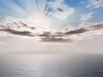 Morning seascape. Computer rendered cloudy morning seascape Royalty Free Stock Photos