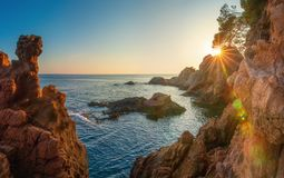 Morning seascape of mediterranean rocky beach in Spain royalty free stock photography