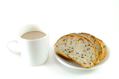 Morning Serve Of A Cup Of Coffe And Sesame Bread Royalty Free Stock Image