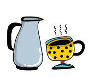Morning set with cup and milk jug. Vector illustration Royalty Free Stock Image