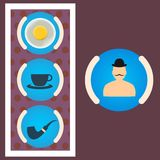 Morning set gentleman scrambled eggs, tea, tube Royalty Free Stock Photography