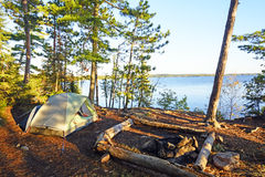 Morning Shadows on a Wilderness Campsite Royalty Free Stock Photo