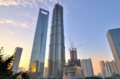 Morning of Shanghai center commercial area Royalty Free Stock Photo