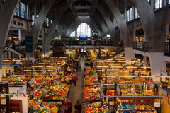 Morning shopping. In a old market hall - Wroclaw, Poland Stock Photography