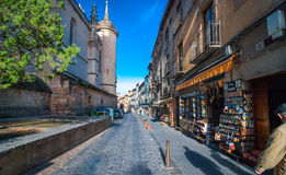 Morning shops open in Segovia village. Stock Photo