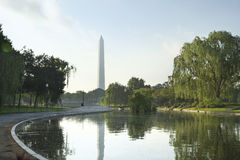 Morning shot of Washington Monument. Reflected in the Constitution Gardens Pond in Washington DC Royalty Free Stock Photo