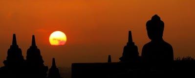 Morning silhouette of Buddha image on Borobudur temple,Yogyakart Royalty Free Stock Photos